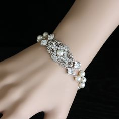 Pearl Crystal Bridal Bracelet Vintage style Ivory Pearl wedding Bracelet Double Strand Wedding Jewelry YASMIN.