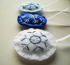 embroidered snowflakes