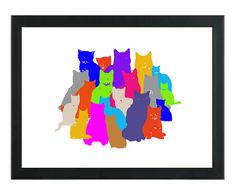 Cat Art Print, Colorful Cats, Nursery Wall Decor