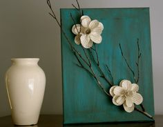 Paper flowers on canvas
