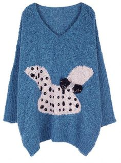 Cartoon Rabbit V Collar Sweater Blue $42.00