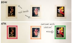 Before and after DIY Washi tape decorative borders for pictures