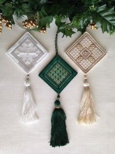Continue your needlework journey through the year with the second set of three ornaments in the Jewel Box Club – April (diamond), May (emerald) and June (pearl). A bead pack is available with all of the Swarovski crystals and other beads needed to stitch one of each of the three designs.