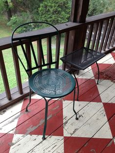 Red and white painted checkered floor. loving this for my porch!