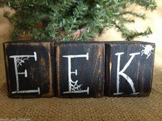 Primitive Halloween EEK Spider Webs Conversation Shelf Sitter Cube Block Set  #EEK #DoughandSplinters