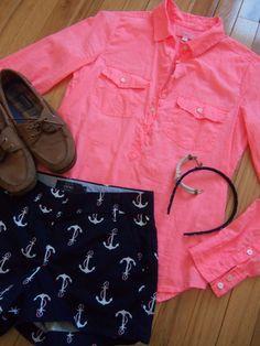 pink shirt, anchor shorts, sperrys