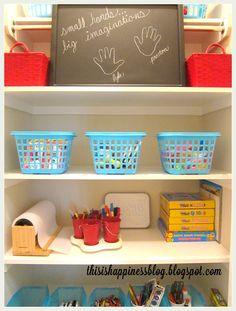 Organized kids craft closet