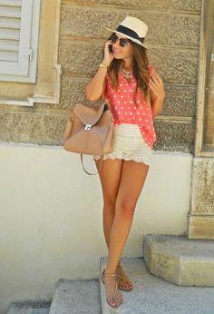 Polka dot -Shirt  Cream Skirt