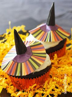 Bewitching Skinny Chocolate Cupcakes - Just a few ingredients transform a box mix into a virtually guiltless treat! witch hats, cupcake liners, chocolate cupcakes, cupcake recipes, cake mixes, cupcake boxes, chocol cupcak, egg whites, food cakes