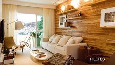 Wooden wall + matching wooden shelves