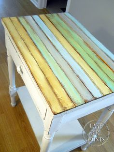 Lake Girl Paints: Side Table Makeover - Cottage Chic • painted furniture