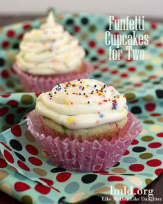 This recipe makes just two perfect Funfetti Cupcakes and frosting. It's perfect when you need a small batch just to share with a friend or maybe 2 cupcakes just for you! #lmldfood