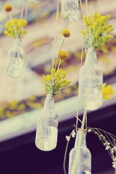 Hanging flowers in glass bottles for decoration
