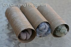 DIY Camping Fire Starters using your old dryer lint.