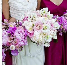 Purple/Pink Peony, Purple Sweet Pea, White Anemone Bouquet