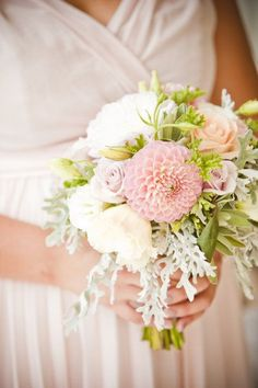 Blush bouquet of dahlias, dusty miller, and garden roses