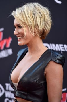 Nicky Whelan cleavage on red carpet for Sin City