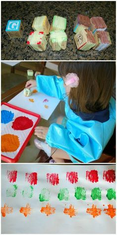 Block and Paper Towel Prints - use yarn and simple alphabet blocks to create a fun art experience. kid art