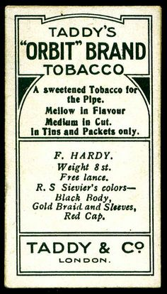 Cigarette Card Back - Taddy's Famous Jockeys | Flickr - Photo Sharing❤️