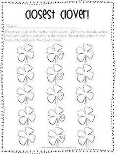 "This free ""Closest Clover"" rounding worksheet gives second graders practice figuring out the two decade numbers that a given number is between and rounding to the nearest ten.  This freebie adds a little St. Patrick's Day spirit to math class!"