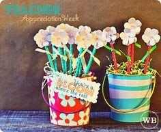 teacher gifts, parents, teacher appreciation, volunteer gifts, flower bouquets, parent volunteers, flowers, gift idea, pencil holders
