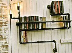 DIY steampunk-y pipe shelf / light combo lights, diy ideas, books, industrial lighting, light fixtures, hous, pipe shelves, pipeshelv, design