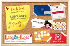 Pin to Win $350 Kid's spring wardrobe from #LoobaLee  Win $ 250 in giftcards to your favorite children's store (Gap, Tea, Gymboree, Hanna, mini Boden, Polarn) + $ 100 to spend on resale at LoobaLee.  Enter today (it's easy!)