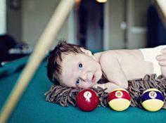 Cute! Baby boy billiard (pool) themed newborn photo shoot props ideas