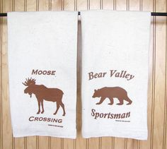Natural Flour Sack Towels with Moose/Bear prints