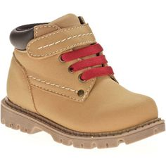 These cheap boots complete his construction-man outfit!