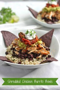 Shredded Chicken Burrito Bowls | TheCornerKitchenBlog.com