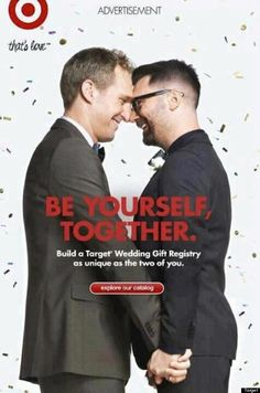 Target features gay couple in wedding registry ad.