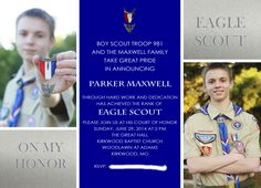 2nd Eagle Son's Eagle COH Invite. I worked with KatieDiDesigns on Etsy who helped me pull my vision together.
