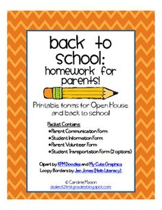 A pack of printable forms for Open House or back to school.  Contents include: Parent Contact and Communication Form, Student Information Form, Par...