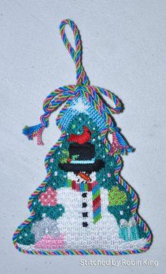 Snowman needlepoint ornament, christmas tree shape