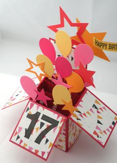 3D Birthday Card, Box Card with Balloons