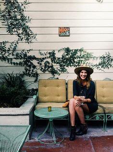 patio, hat