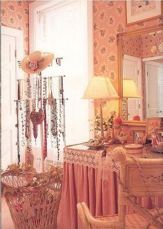 decor, rose, shabbi chic, shabby chic, jewelry displays, vanities, pink rooms, pink bedrooms, powder rooms