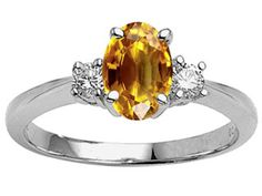 Genuine 9x7 Oval Citrine Engagement Ring citrine engagement rings