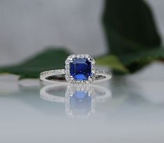 I have expensive taste. | 0.87ct Asscher Blue Cornflower Sapphire Diamond Ring 14k White Gold