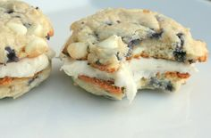 Blueberry white chocolate chip sandwich cookies