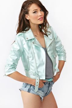 Cropped Moto Jacket - Metallic Mint    This company has some cute clothes, but it's for younger people and it really is a shame about the lack of pants and the pervasive duck lips on the models.