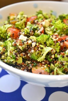 Broccoli Quinoa Salad  @Emily Harris this idea would be a great protein snack