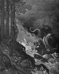 Gustave Doré, ten of the thirty-six illustrations selected from Ludovico Ariosto's Orlando Furioso [1516]; Hachette and Co. (London: Ward & Lock), c. 1877.