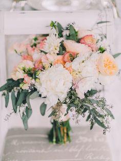 peach and eucalyptus bouquet, photo by Rachel May Photography http://ruffledblog.com/clifton-inn-wedding-inspiration #weddingbouquet #flowers