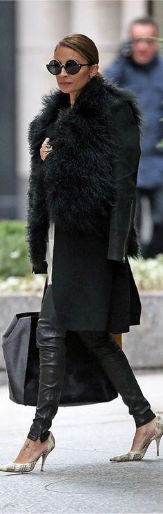 Nicole Richie / slicked back hair perfection #fierce fashion, nicole richie, sunglass, style icons, street styles, nicol richi, fur, black, coat
