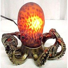Amber Glass Octopus Accent Lamp Bronzed Base