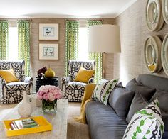 """A gorgeous mix of patterns and colors, softened by the grasscloth on the walls for """"breathing"""" room."""
