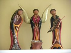 Wooden Nativity set with an Angel
