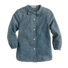 Girls' bow shirt in chambray--crewcuts